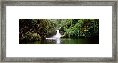 Waterfall In A Forest, Punch Bowl Framed Print by Panoramic Images