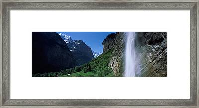 Waterfall In A Forest, Staubbach Falls Framed Print