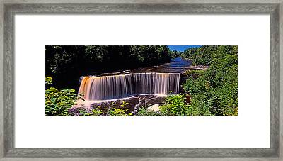 Waterfall In A Forest, Tahquamenon Framed Print by Panoramic Images