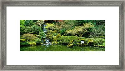 Waterfall In A Garden, Japanese Garden Framed Print