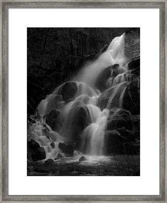 Waterfall In Black And White Framed Print by Bill Gallagher