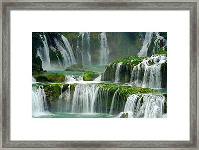 Waterfall In Green Framed Print