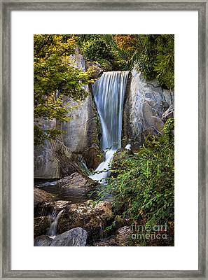 Waterfall In Japanese Garden Framed Print by Elena Elisseeva