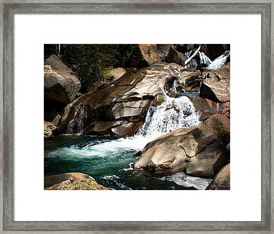 Waterfall In The Colorado Rocky Mountains Framed Print by Julie Magers Soulen