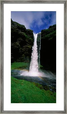Waterfall In The Forest, Kvernufoss Framed Print