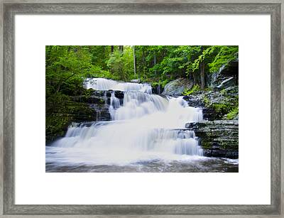 Waterfall In The Pocono Mountains Framed Print by Bill Cannon