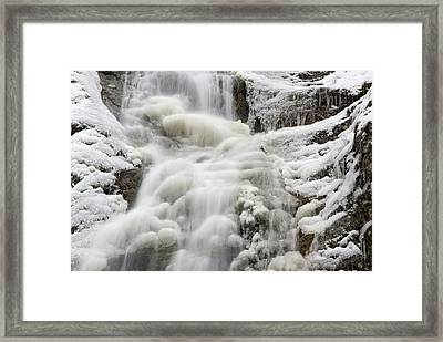 Waterfall In The Winter Framed Print