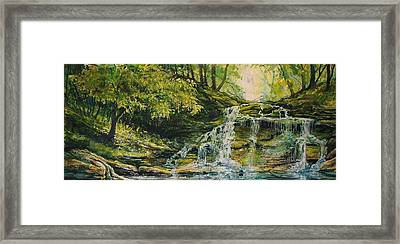 Framed Print featuring the painting Waterfall In The Woods by Joy Nichols