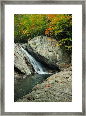 Waterfall In West Fork Of Pigeon River Framed Print
