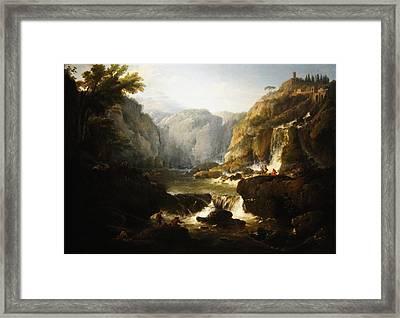 Framed Print featuring the digital art Waterfall by Joseph Vernet