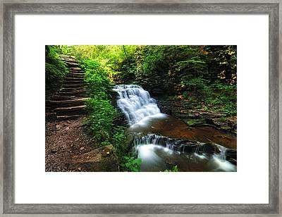 Waterfall Paradise With Stone Stairway Framed Print by Aaron Smith