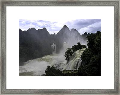 Waterfall Framed Print by Qing