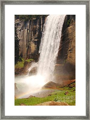 Framed Print featuring the photograph Waterfall Rainbow by Mary Carol Story