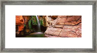 Waterfall Rushing Through The Rocks Framed Print by Panoramic Images