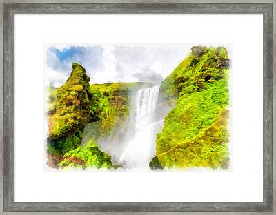 Waterfall Skogafoss Iceland Aquarell Painting Framed Print by Matthias Hauser
