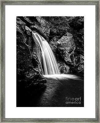 Waterfall Stowe Vermont Black And White Framed Print by Edward Fielding