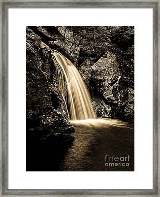Waterfall Stowe Vermont Sepia Tone Framed Print by Edward Fielding
