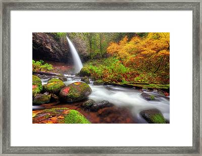 Waterfall With Autumn Colors Framed Print