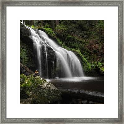 Waterfall Zen Square Framed Print by Bill Wakeley