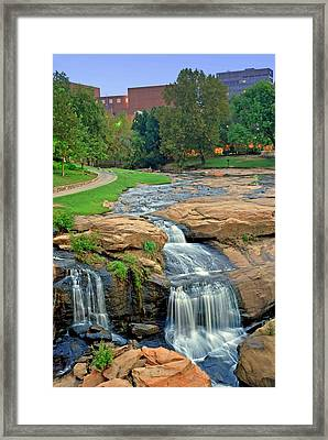 Waterfalls And Downtown Greenville Sc Skyline At Dawn Framed Print