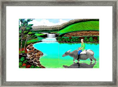Waterfalls And Man Riding A Carabao Framed Print