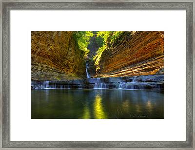 Waterfalls At Watkins Glen State Park Framed Print by Wayne Moran