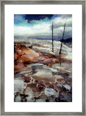 Framed Print featuring the digital art Waterfalls At Yellowstone by Kai Saarto