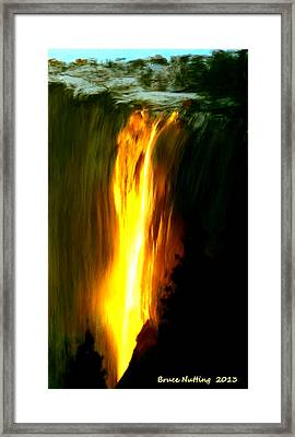 Framed Print featuring the painting Waterfalls By Light by Bruce Nutting