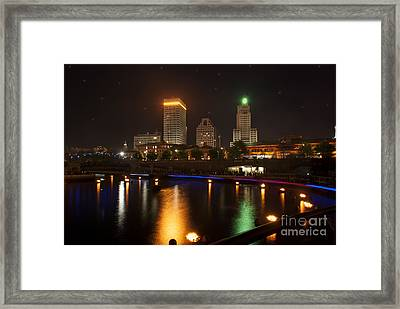 Waterfire.  Providence Rhode Island Framed Print by Juli Scalzi