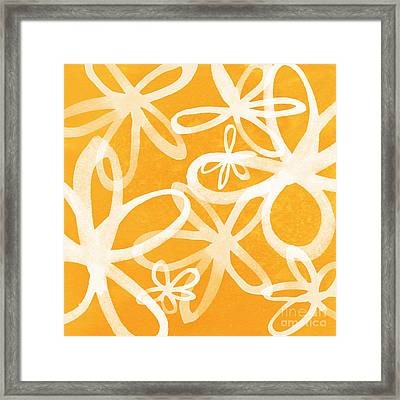Waterflowers- Orange And White Framed Print by Linda Woods