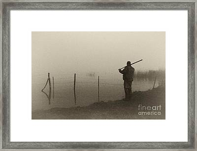 Waterfowler Before Dawn - D008866-bw Framed Print by Daniel Dempster