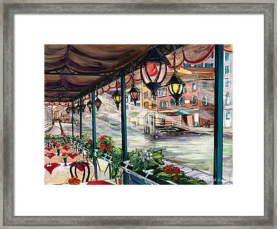 Waterfront Cafe Framed Print