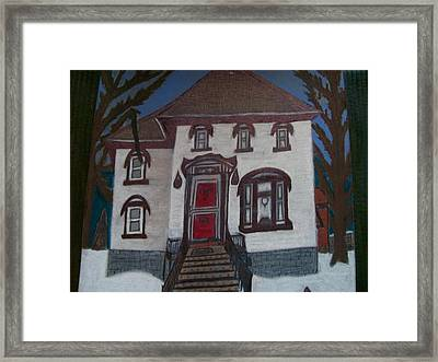 Framed Print featuring the drawing Historic 7th Street Home In Menominee by Jonathon Hansen