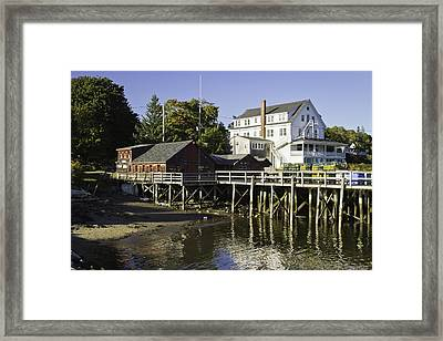 Waterfront Pier In Tenants Harbor Maine Framed Print by Keith Webber Jr