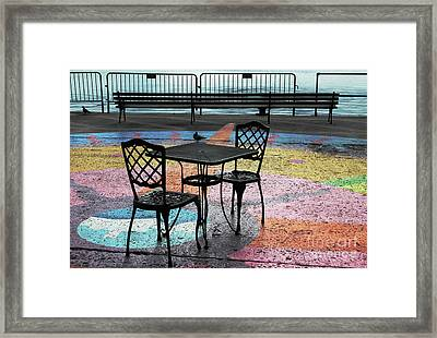 Waterfront Seating Framed Print by Charline Xia