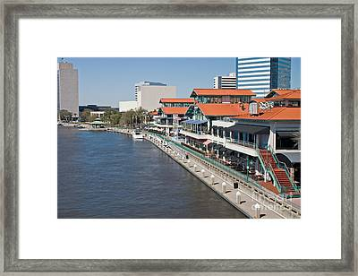 Waterfront Shopping And Dining Complex Framed Print