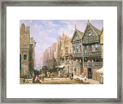 Watergate Street Looking Towards Eastgate Chester Framed Print by Louise J Rayner