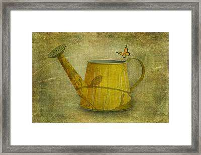 Watering Can With Texture Framed Print by Tom Mc Nemar