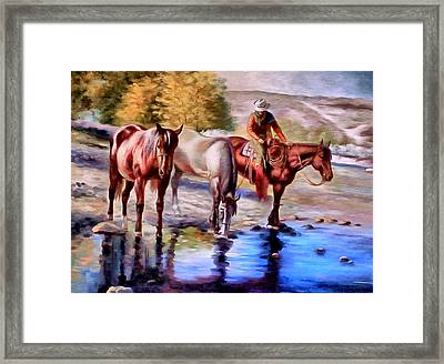 Watering The Horses Framed Print