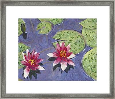Waterlilies In The Rain Framed Print