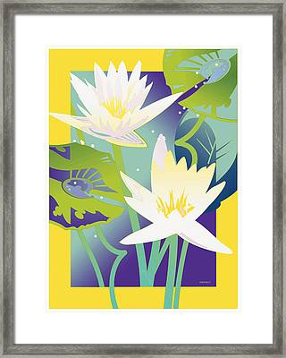 Waterlilies Yellow Border Framed Print