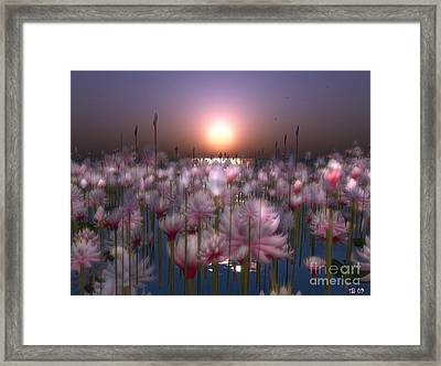 Framed Print featuring the digital art Waterlillies by Susanne Baumann