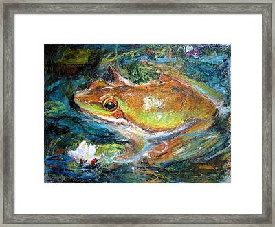 Waterlily And Frog Framed Print by Jieming Wang