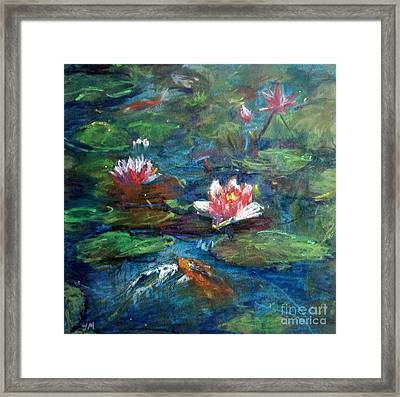 Waterlily In Water Framed Print by Jieming Wang