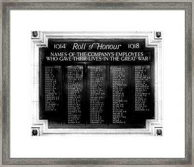 Waterloo Roll Of Honor 1914 1918 Framed Print