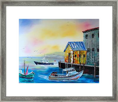 Waterman's Harbor Framed Print