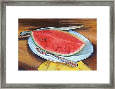 Watermelon Framed Print by Beverly Amundson