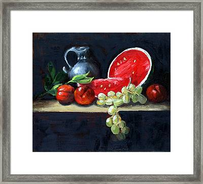 Watermelon And Peaches Framed Print by Gaye White