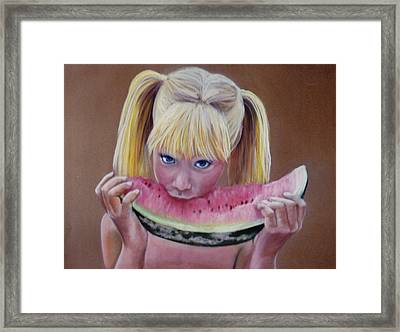 Watermelon Bite Framed Print by Colleen Gallo