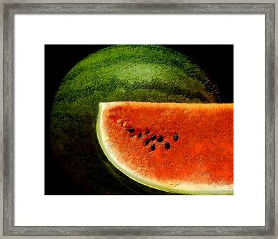 Framed Print featuring the digital art Watermelon by David Blank